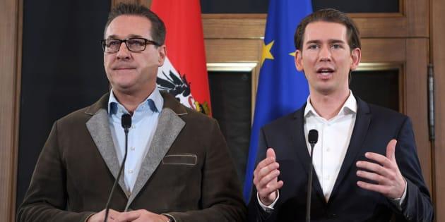 El jefe de la ultraderecha, Christian Strache (irónicamente, a la izquierda), y el líder del Partido Popular (ÖVP), Sebastian Kurz.
