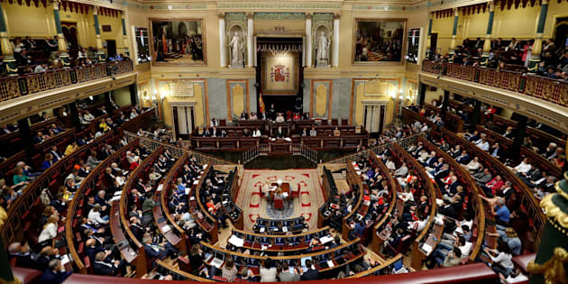 Plano general del hemiciclo durante la intervención de Mariano Rajoy.