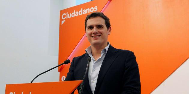 El presidente de Ciudadanos, Albert Rivera, durante una rueda de prensa.