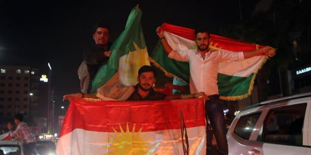 Kurdos celebran el referéndum de independencia de Kurdistán en Erbil.