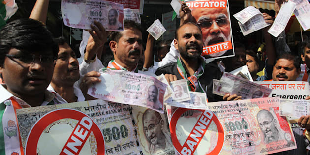 Congress workers protest against demonetisation in Mumbai.
