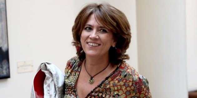 La ministra de Justicia, Dolores Delgado, durante su intervención en la sesión de control al Gobierno en el Senado.