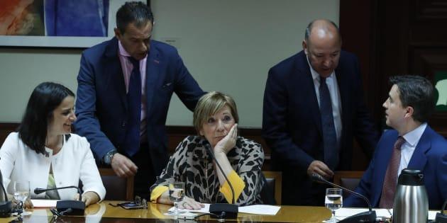 La presidenta de la Comisión del Pacto de Toledo, Celia Villalobos este martes en el Congreso.