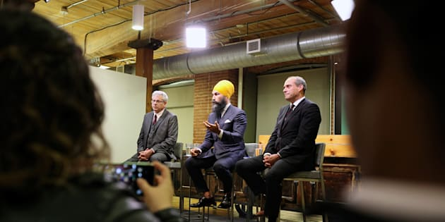 NDP leadership candidates Charlie Angus, Jagmeet Singh, Guy Caron participate in a debate hosted by HuffPost Canada in Toronto on Sept. 27, 2017.