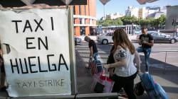 Los taxistas colapsan la Gran Via de Barcelona y la Castellana de