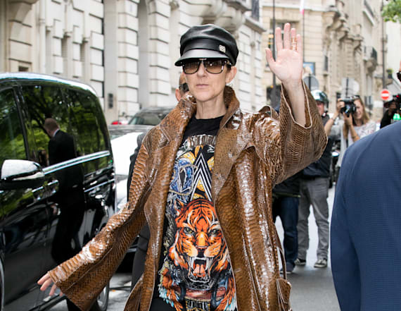 Celine Dion rocks thigh-high boots and no pants