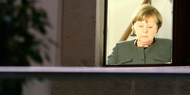 La canciller alemana, Angela Merkel, durante las negociaciones.