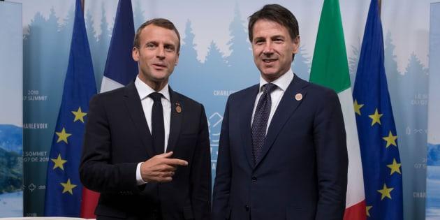 El presidente francés, Emmanuel Macron (izq) y el primer ministro italiano, Giuseppe Conte (der), en una imagen de archivo.