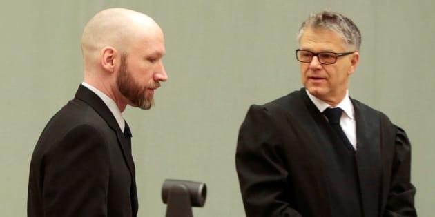 Anders BehringBreivik et son avocat au tribunal le 13 janvier