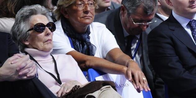 Andrée Sarkozy, ici en 2012 au premier rang d'un meeting de son fils Nicolas Sarkozy, est morte