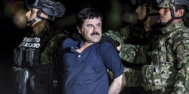 MEXICO CITY, MEXICO - JANUARY 8: Joaquin Guzman Loera, also known as 'El Chapo' is transported to Maximum Security Prison of El Altiplano in Mexico City, Mexico on January 08, 2016. Guzman Loera, leader of Mexico's Sinaloa drug Cartel, was considered the Mexican most-wanted drug lord. Mexican marines captured 'El Chapo' on Friday in Sinaloa, North of Mexico. (Photo by Daniel Cardenas/Anadolu Agency/Getty Images)