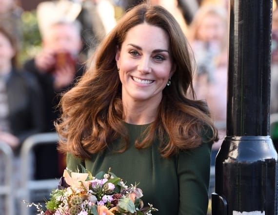 Duchess Kate dazzles in olive to launch helpline