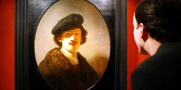 Un autoportrait de Rembrandt à 28 ans.