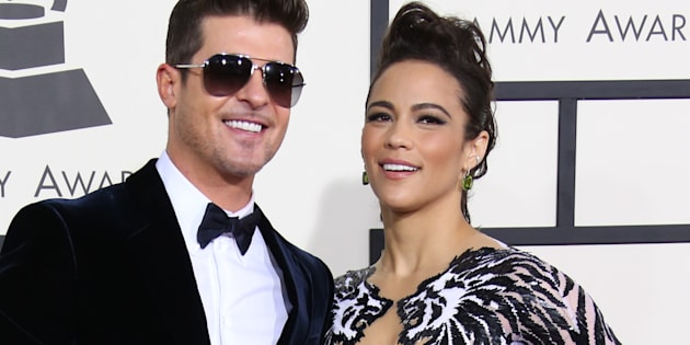 LOS ANGELES, CA - JANUARY 18: (L-R) Robin Thicke and Paula Patton arrive at the 56th Annual GRAMMY Awards at Staples Center on January 26, 2014 in Los Angeles, California. (Photo by Dan MacMedan/WireImage)