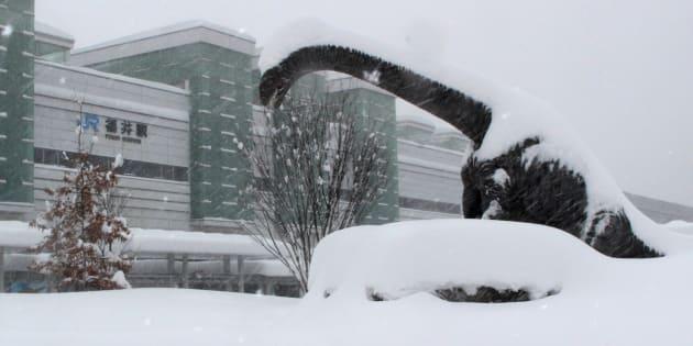 全身が雪に覆われた恐竜のモニュメント=2月6日、福井市のJR福井駅前