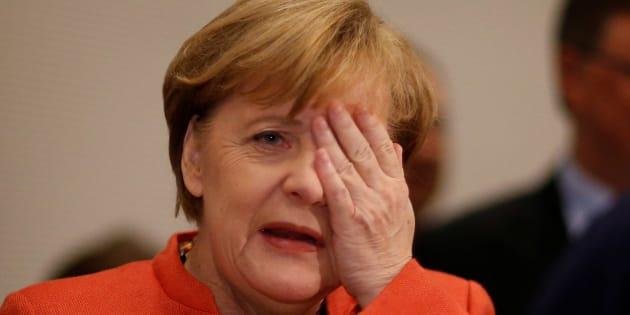 Angela Merkel, canciller alemana, tras una reunión del grupo parlamentario de la CDU/CSU en Berlin, Alemania. REUTERS/Axel Schmidt