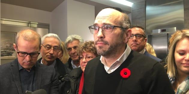 Lionel Perez et les élus d'Ensemble Montréal, quelques jours après la défaite électorale du 5 novembre.