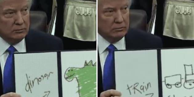 """""""Trump Draws"""", le compte Twitter qui fait passer les décrets de Donald Trump pour des dessins d'enfant"""