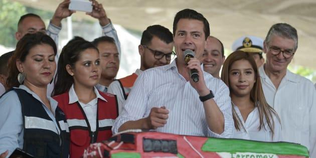 El presidente Enrique Peña Nieto durante la inauguración del Túnel Ferroviario deManzanillo, Colima, el 20 de julio de 2018.