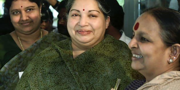 Sasikala Natarajan (left) with J. Jayalalithaa.