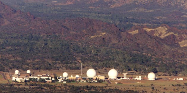 An aerial view of Pine Gap on the outskirts of Alice Springs.