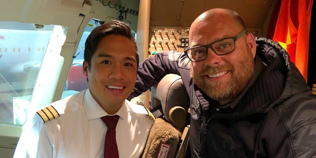 Todd Doherty, right, is shown with Air Canada pilot Romeo Ancheta in this photo from Doherty's Facebook page.