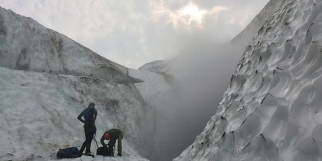 Climate change is causing glaciers atop Mount Meager, in British Columbia, to shrink. Scientists are exploring the specific grief caused by climate change.