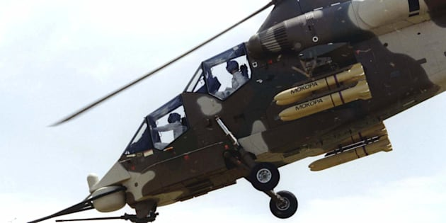 Denel Aviation's Rooivalk attack helicotper. Denel Vehicle Systems manufacture turrets for attack helicopters.