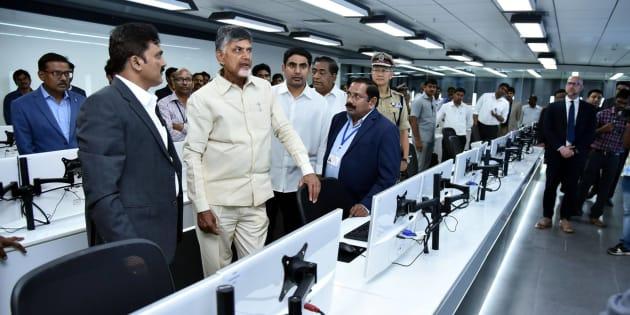 AP CM N Chandrababu Naidu at the inauguration of the APCSOC.