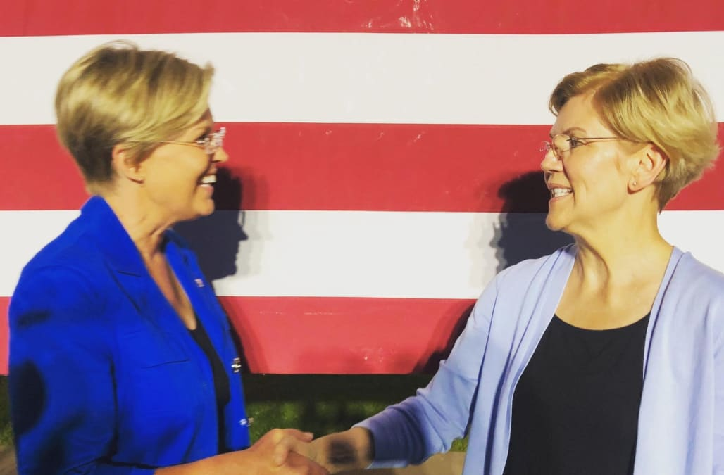Elizabeth Warren met her doppelgänger at a rally and people cannot tell the difference - AOL