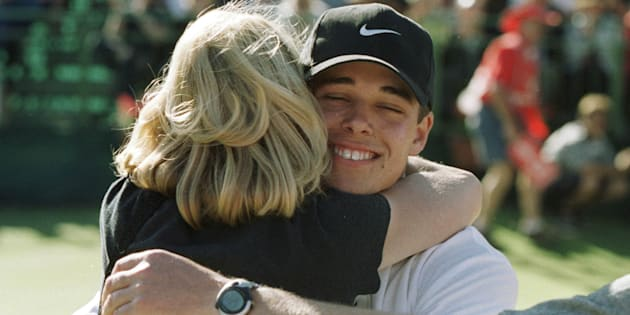 Piece of Wisdom number One: Hug your mother. This is Baddelely in 1999 after he won the Australian Open as an 18-year-old amateur.