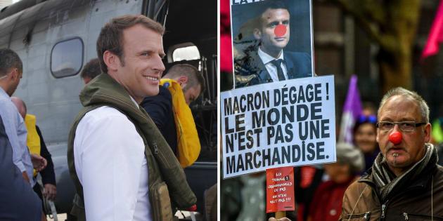 Macron à Saint-Martin, manifestations anti-loi travail en métropole: la guerre des images fait rage.