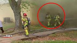 Ce pompier sauve un bébé en le rattrapant depuis la fenêtre d'une maison en