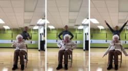 Cette femme de 93 ans est heureuse de faire sa séance de sport et ça