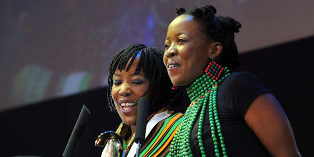 The Mazwai sisters Nomsa and Ntsiki (in green beads)  Photo : Gallo Images/Daily Sun/Robert Tlapu