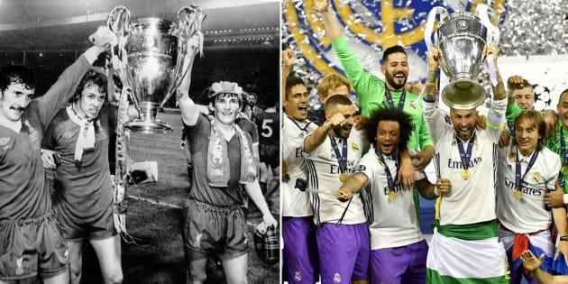 Finale de la Ligue des Champions: quand le Liverpool des années 70 (à gauche) était le Real Madrid d'aujourd'hui