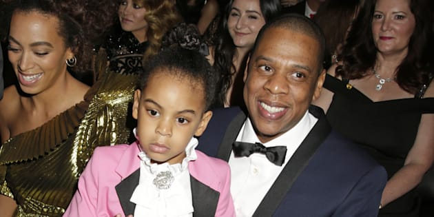 Jay Z with daughter Blue Ivy Carter at the 59th annual Grammy awards.