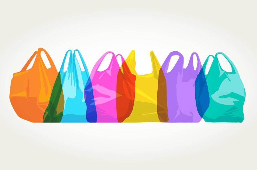 Ilustración de bolsas de plástico.