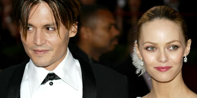 Johnny Depp et Vanessa Paradis à Hollywood le 29 février 2004.