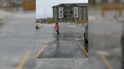 Regina Man Shows Off His (N)ice Moves While Taking Out The