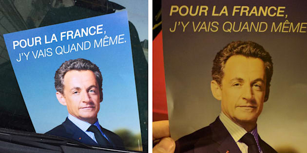 Des photos du tract évoquant un retour de Nicolas Sakozy prises pour Le HuffPost dans le 16ème et le 18ème arrondissement de Paris.