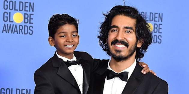 BEVERLY HILLS, CA - JANUARY 08:  Sunny Pawar, Dev Patel poses at the 74th Annual Golden Globe Awards at The Beverly Hilton Hotel on January 8, 2017 in Beverly Hills, California.  (Photo by Steve Granitz/WireImage)
