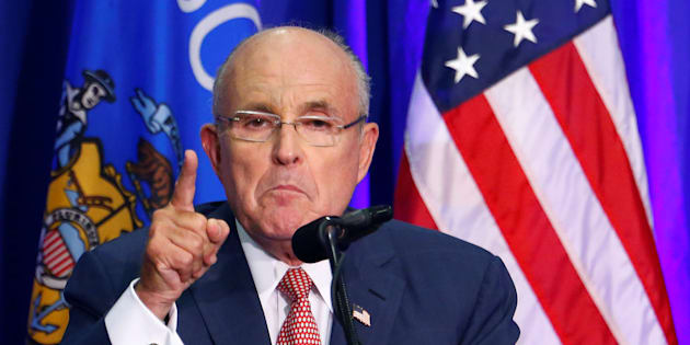 WILMINGTON, NC - AUGUST 9:   Former New York City Mayor Rudy Giuliani introduces Republican presidential candidate Donald Trump during a campaign event at Trask Coliseum on August 9, 2016 in Wilmington, North Carolina. This was TrumpÕs first visit to Southeastern North Carolina since he entered the presidential race. (Photo by Sara D. Davis/Getty Images)