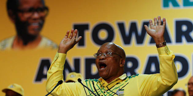 President Jacob Zuma gestures during the ANC's 54th national conference at the Nasrec Expo Centre in Johannesburg, December 16, 2017.
