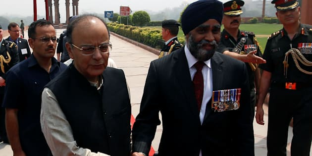 Indian Defence Minister Arun Jaitley with his Canadian counterpart Harjit Sajjan.