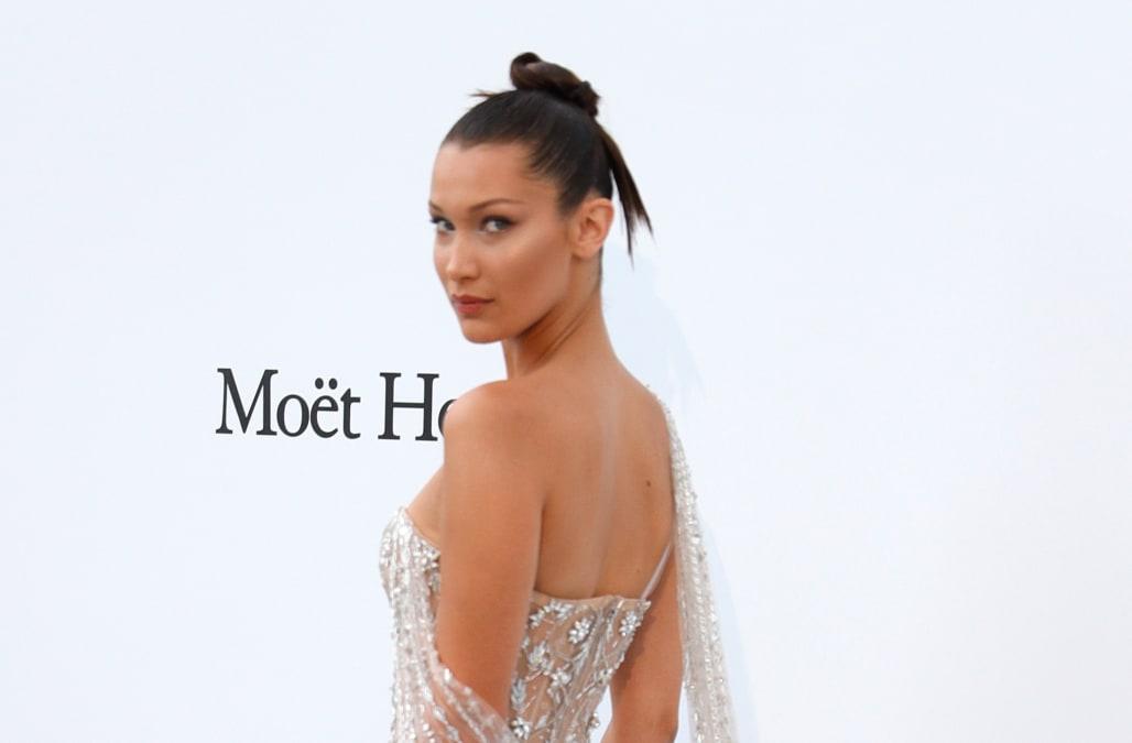 d530807b379 Bella Hadid suffers another wardrobe mishap at 2017 Cannes Film Festival s amfAR  Gala