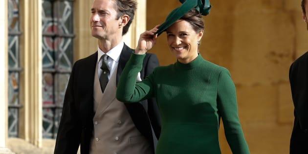 Pippa Middleton et son mari James Matthews au mariage de la princesse Eugénie d'York le 12 octobre 2018