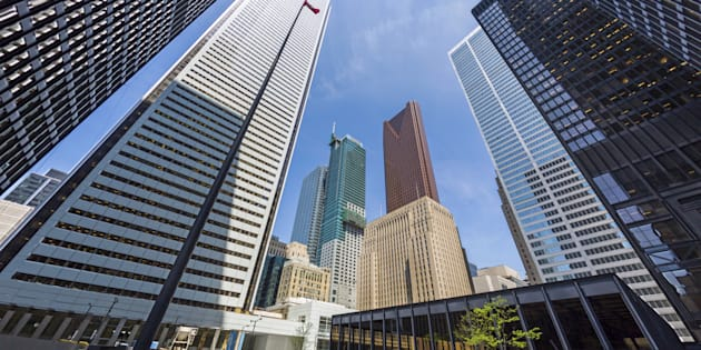 The headquarters of Bank of Montreal, Scotiabank, CIBC and Royal Bank of Canada can be seen in downtown Toronto. All of Canada's big five banks raised their lending rates on Thursday, in lockstep with the Bank of Canada's rate hike Wednesday.