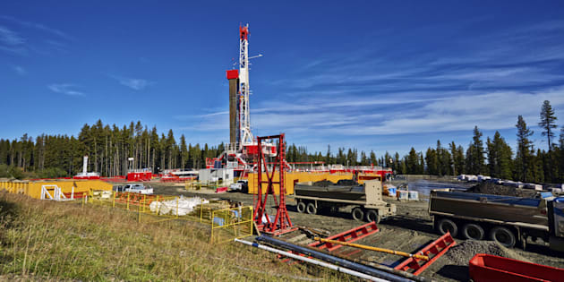 Oil and gas fracking rig in Alberta.