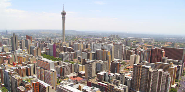 The Johannesburg skyline from the top of Ponte Towers.